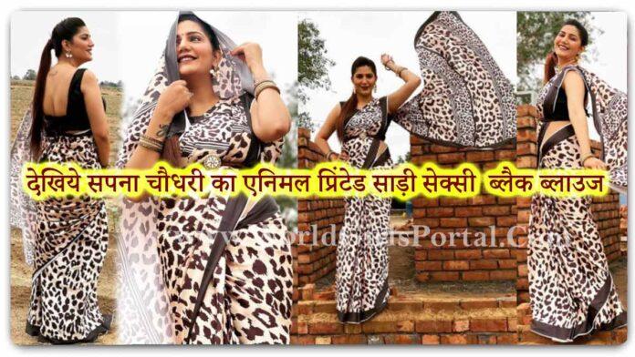 Sapna Choudhary Animal Printed saree with Sexy Black Blouse: #SapnaChoudhary saree with tiger stripes and cheetah spots Haryanvi Dancer Video