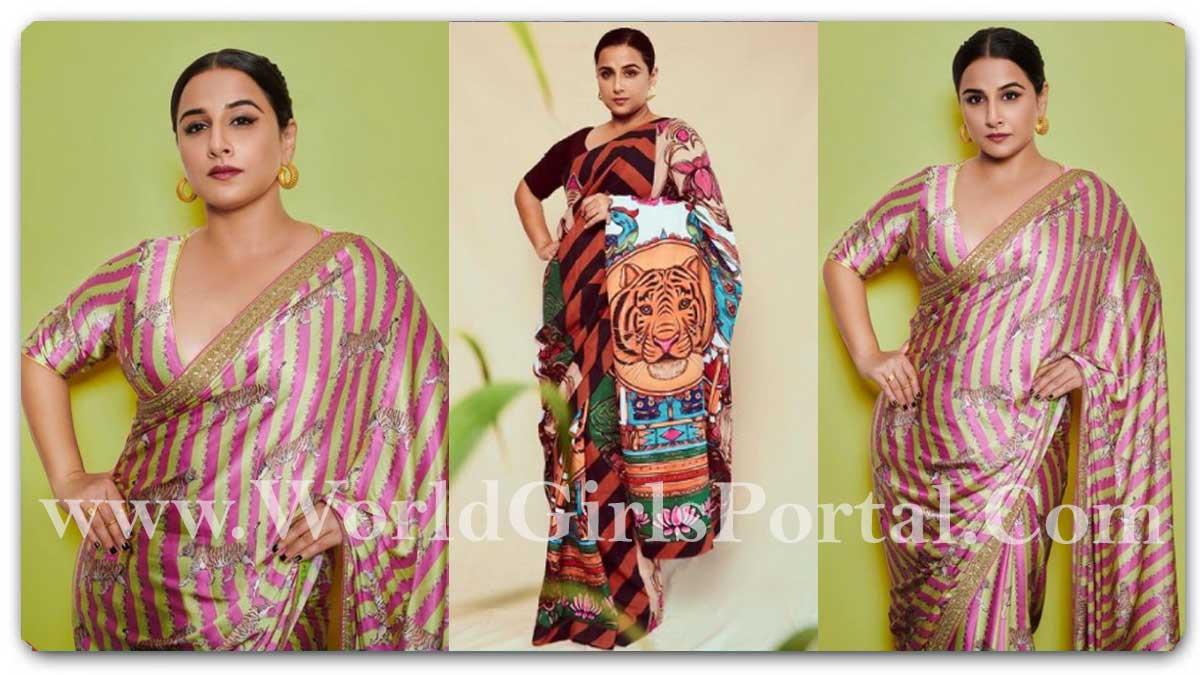 Vidya Balan Tiger Print Striped Saree: #VidyaBalan was seen in a lovely pink and green saree with tiger motifs 'Sherni loves her stripe'
